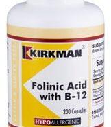 Folinic Acid with B-12 - Hypoallergenic - 200 capsules