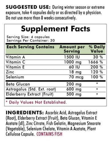Immuno-Aid™ Advanced Formula - Hypoallergenic - 120 capsules - INGREDIENTS