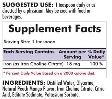 Iron Liquid - Bio-Max Series - 8oz - 240ml - INGREDIENTS