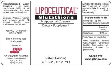 LipoCeutical Glutathione - 4oz liquid - INGREDIENTS