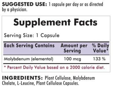 Molybdenum 100 mcg - Hypoallergenic - 100 capsules -INGREDIENTS