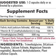TMG 500 mg with Folinic Acid & Methyl B-12 - Hypoallergenic - 120 capsules - INGREDIENTS